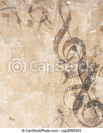 Old music sheet - csp2995343