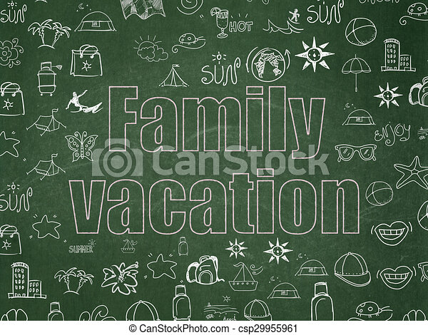Travel concept: Family Vacation on School Board background
