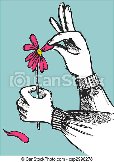 Hands plucking off the petals of a red flower on sky blue background. Vector available - csp2996278