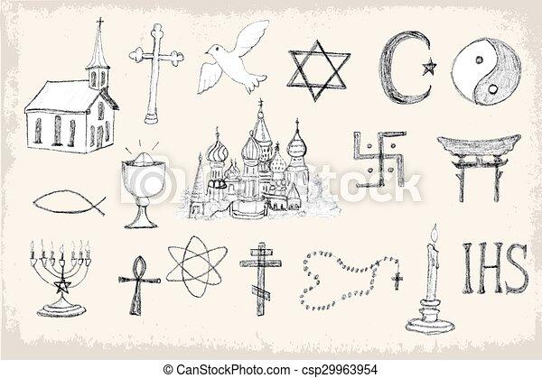 Set of trendy vector religion elements - csp29963954