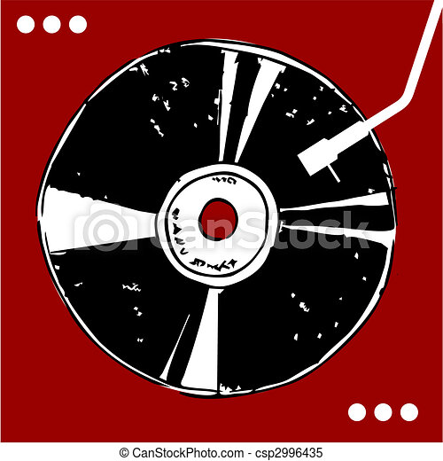 Vinyl disc on red background.  - csp2996435