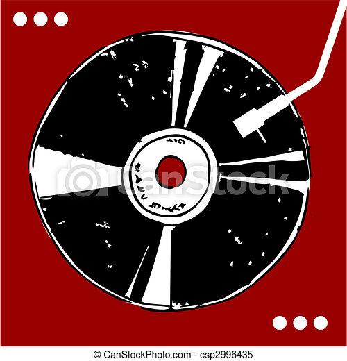 Vinyl disc on red background.  - csp2996435