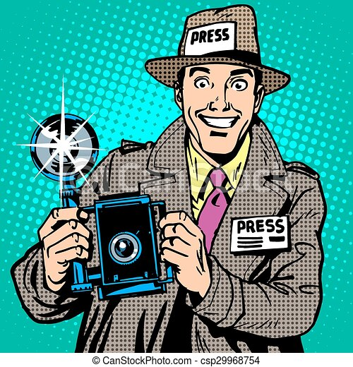 Clipart vector of photographer paparazzi at work press for Paparazzi clipart