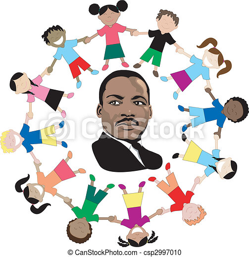 Martin Luther King with kids - csp2997010
