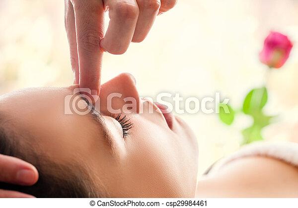 Macro close up of facial relaxing  massage. - csp29984461