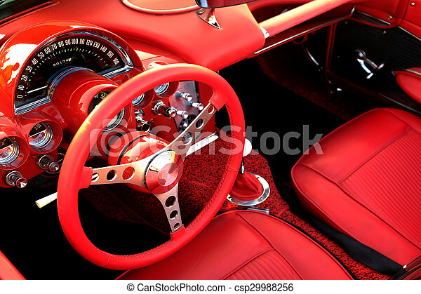 Red Sports Car Interior Steering Wheel