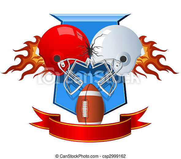 Two clashing sport Helmets for American Football  - csp2999162