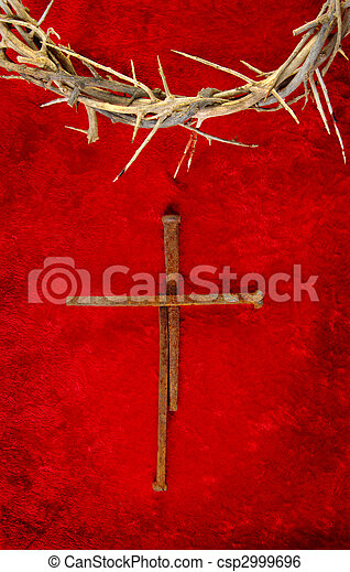 Nail Spike Cross with Crown of Thorns - csp2999696