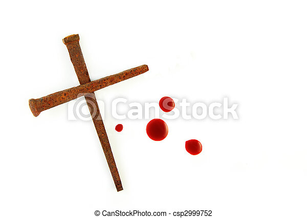 Cross of Rusty Nails and Blood Drops - csp2999752