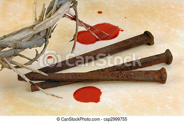 espinas, zapatillas con clavos, corona - csp2999755
