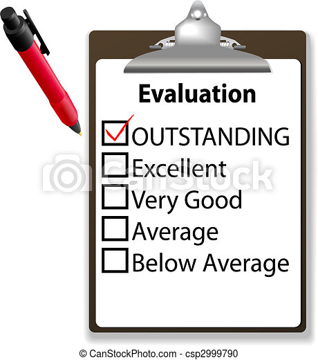 Outstanding job evalution clipboard check mark pen - csp2999790