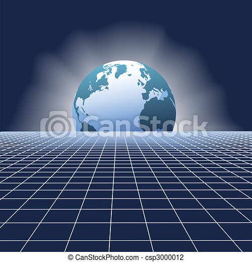 Earth rise globe over communications network grid - csp3000012