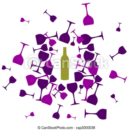 Wine bottle and wineglasses silhouettes background - csp3000038