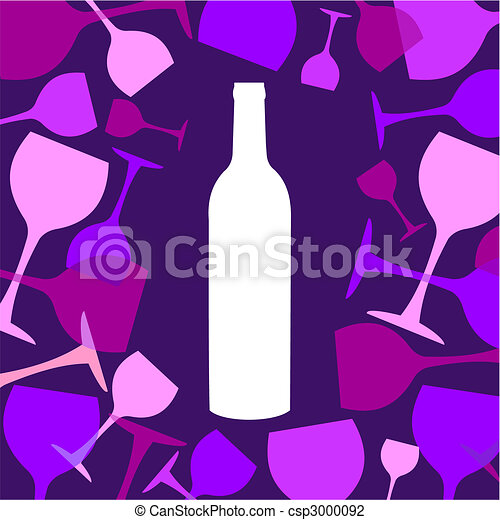 Wine bottle and wineglasses background - csp3000092