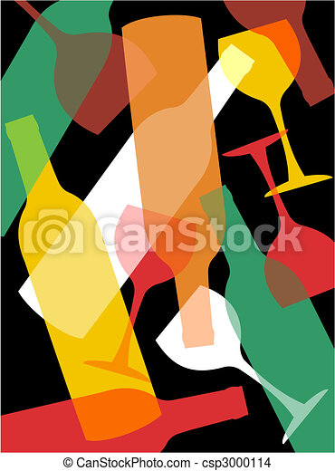 Wine bottles and wineglasses background - csp3000114
