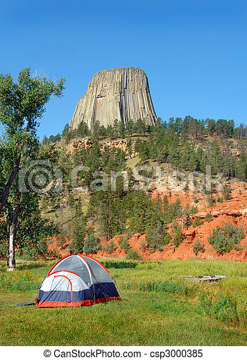 Tent Camping Near Devil\'s Tower - csp3000385