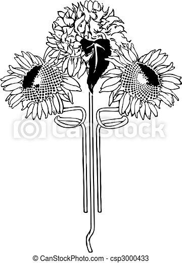 Flower Art Deco Illustration Vector. Sunflower. - csp3000433