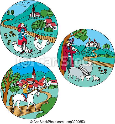 Rural landscape with farm animals - csp3000653
