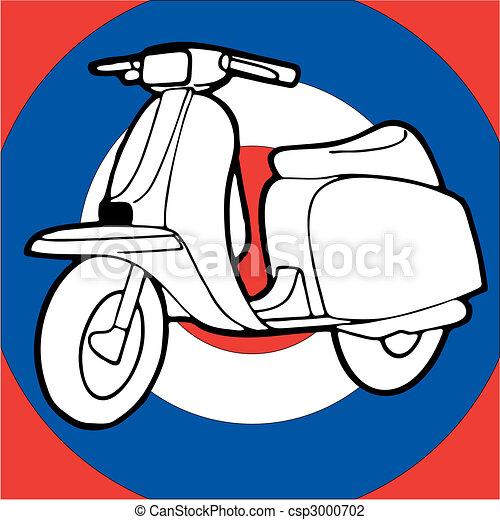Scooter vector illustration retro vintage pop - csp3000702