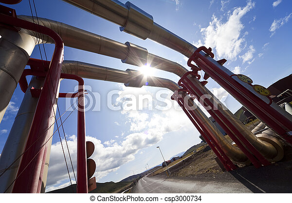 Industrial Pipeline Going Up and Over A Road - csp3000734