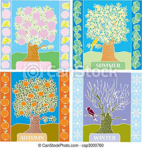 Seasons summer, winter, spring, autumn - csp3000760