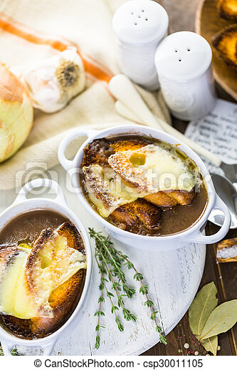 Photographies de francais oignon soupe fait maison francais oignon csp30011105 - Soupe a oignon maison ...