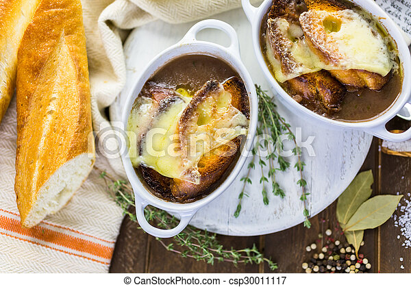 Photographies de francais oignon soupe fait maison francais oignon csp30011117 - Soupe a oignon maison ...