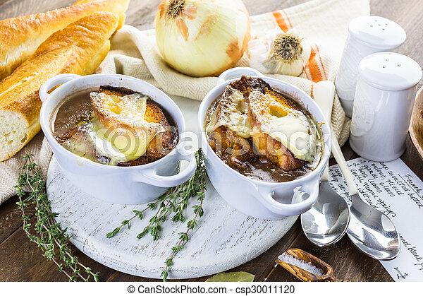 Photo de soupe francais oignon fait maison francais oignon csp30011120 recherchez - Soupe a oignon maison ...