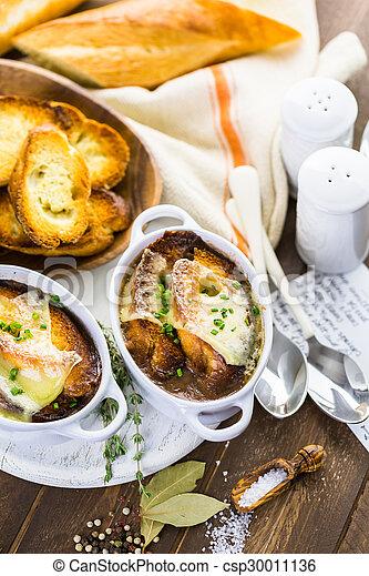 Photos de soupe francais oignon fait maison francais oignon csp30011136 recherchez - Soupe a oignon maison ...
