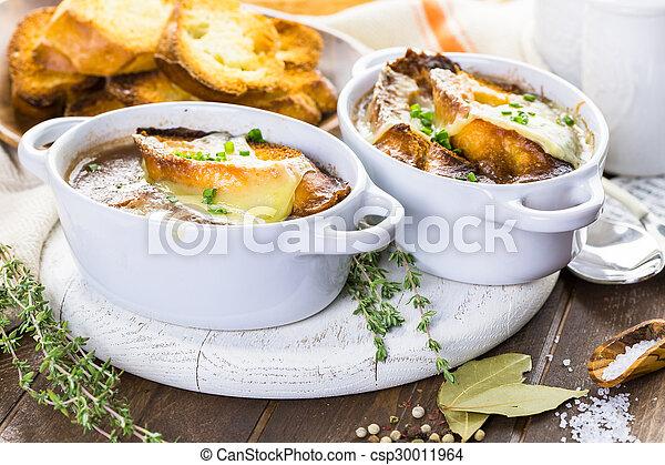 Image de soupe francais oignon fait maison francais oignon csp30011964 recherchez - Soupe a oignon maison ...
