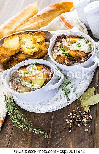 Image de soupe francais oignon fait maison francais oignon csp30011973 recherchez - Soupe a oignon maison ...