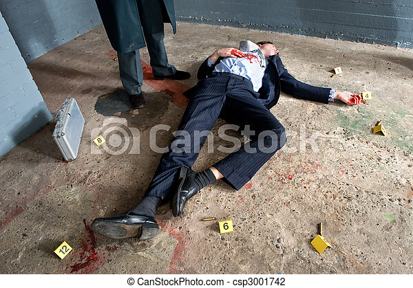 Stock Photo of Murder Victim - Businessman lying on the ...