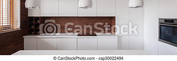 White furnished kitchen interior