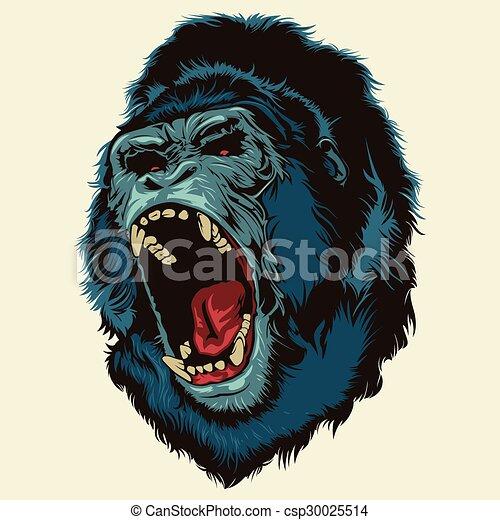Vector Clip Art of Angry Gorilla Head - Multi Colors ... - photo#40