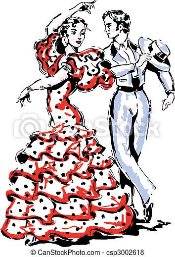 Vecteur de vecteur flamenco illustration espagnol - Danseuse flamenco dessin ...