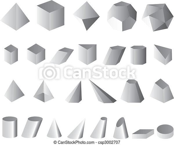 set simple shapes geometric  - csp3002707