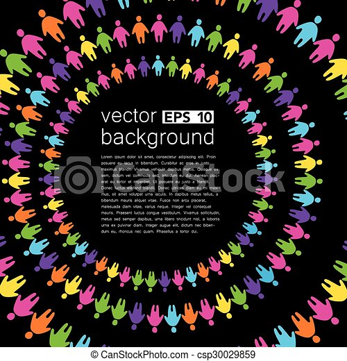 background template with colorful people - csp30029859