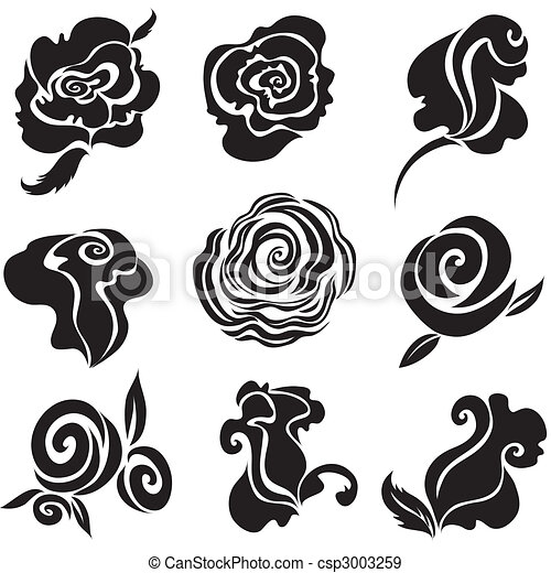 Set of black rose flower - csp3003259