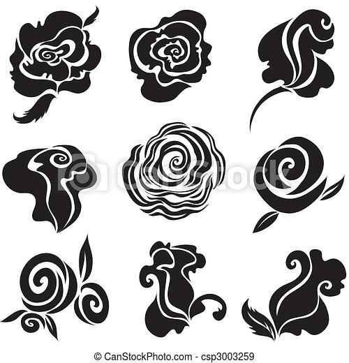Set of black rose flower - csp3003259