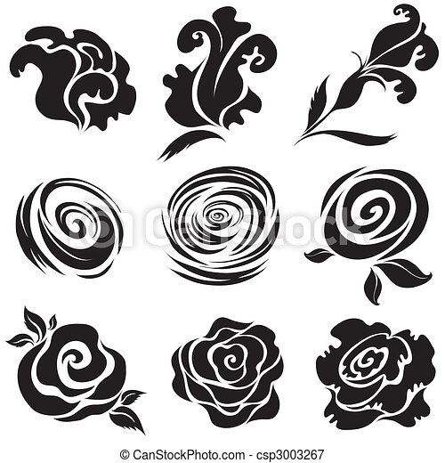 Big Roses Drawings Set of Black Rose Flower
