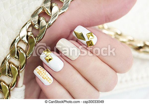 Manicure with gold.