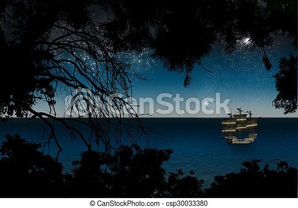 dark blue night sea