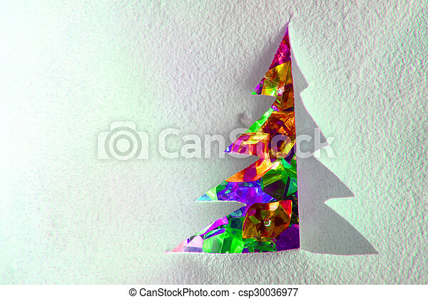 christmas paper tree with color plastic diamonds