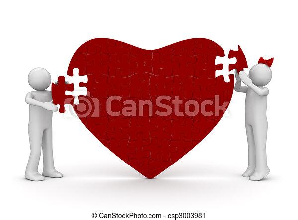 Loving heart romantic puzzle - csp3003981