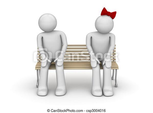 illustration de timide couple banc love valentin jour series 3d csp3004016. Black Bedroom Furniture Sets. Home Design Ideas