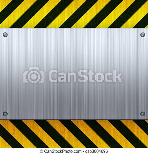 Hazard Stripes Brushed Metal - csp3004696