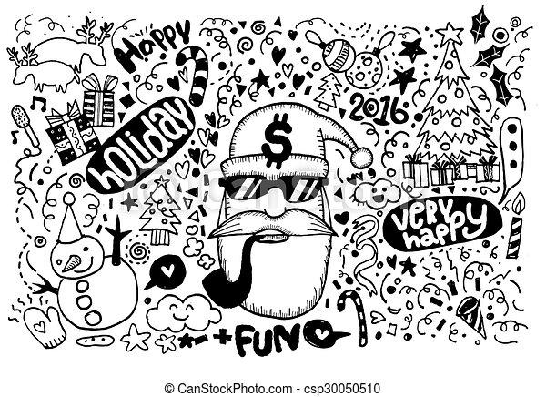 Christmas Sketchy Notebook Doodles- Hand-Drawn - csp30050510