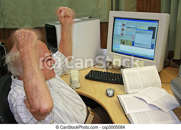 Frustrated Senior at Computer - csp3005084