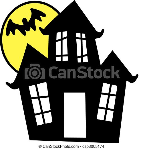 EPS Vector of Haunted House - Vector illustration of haunted house in ...