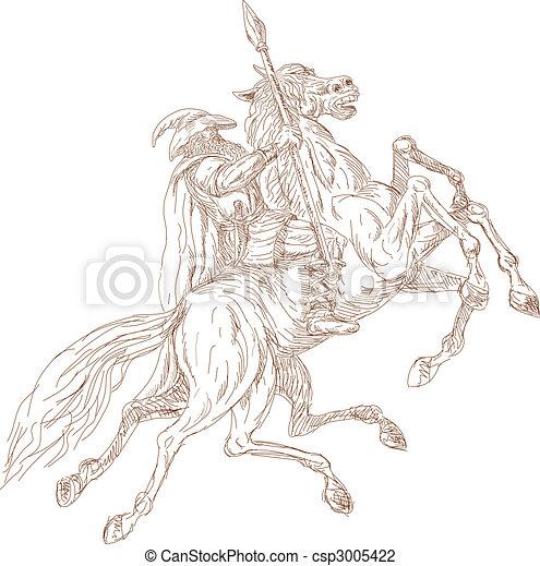 Clip art de odin chasse sleipner dieu huit jambes - Dieu nordique 4 lettres ...